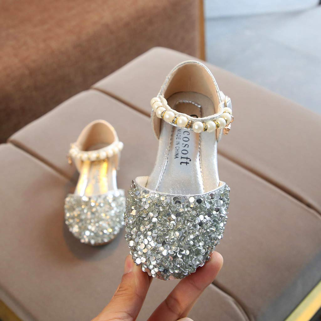 Toddler Infant Kids Baby Girls Pearl Bling Sequins Single Princess Shoes Sandals IGEMY/_ Pearl Shoes Baby Girl