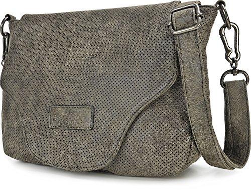 MIYA BLOOM, Damen Handtaschen, Umhängetaschen, Cross-Body Bags, Überschlagtasche, Schultertaschen, 29 x 22 x 10 cm (B x H x T), Farbe:Anthrazit Anthrazit