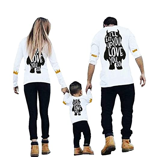 febce23c Tuesdays2 Mom Dad & Baby Parent-Child Long Sleeve Letter Printed Shirt  Family Clothes Outfits