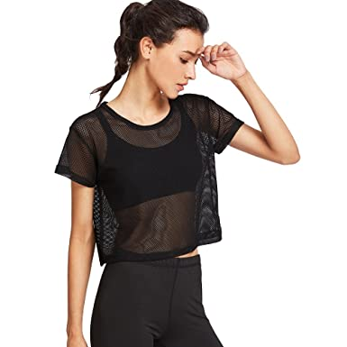 Womens Mesh Perspective Short Sleeve Round Neck Sport Workout Activewear Loose Crop Top T-Shirt at Amazon Womens Clothing store: