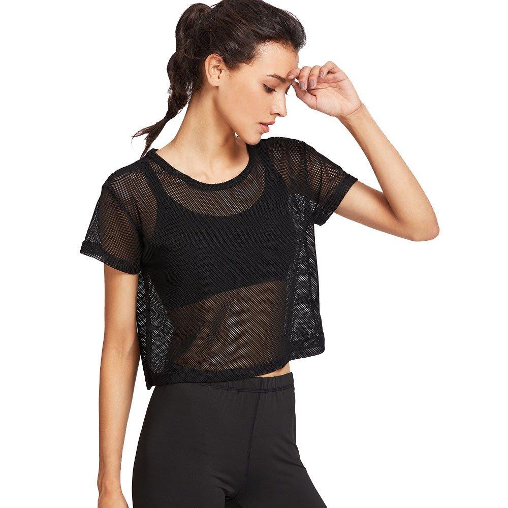 Women Black Mesh Shirt, Cover Up Sports Meshed Top Dancing Fitness Shirt Tops