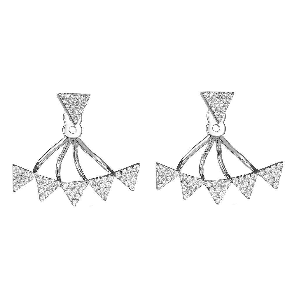 KIVN Fashion Jewelry Triangle CZ Cubic Zirconia Bridal Stud Ear Earring Jackets for Women KIVN Jewelry 21OLA3243