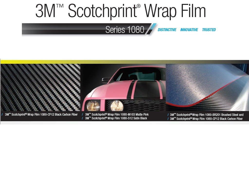 SAMPLE SIZE 3M SATIN Black S12 Scotchprint Car Wrap Vinyl Film 1080 Series by 3M 3in x 5in