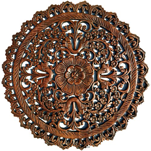 Asiana Home Decor Tropical Bali Wood Carved Wall Art Plaque. Round Wood Wall Decor. Floral Wood Wall Hanging. 24