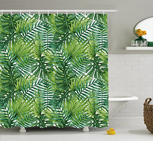 r Curtain, Tropical Exotic Banana Forest Palm Tree Leaves Watercolor Design Image, Fabric Bathroom Decor Set with Hooks, 75 Inches Long, Light Green and Dark Green (Light Green Trees)