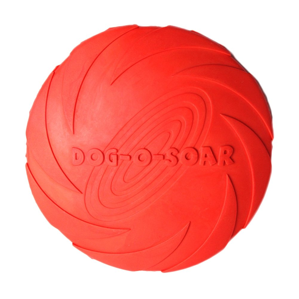 MAGIAI Dog Frisbee, Soft Natural Non-toxic Rubber Floating Disc, Durable Foatable Flying Disc Catch and Fetch Toy for Dogs[7 Inches/18CM] (Red)