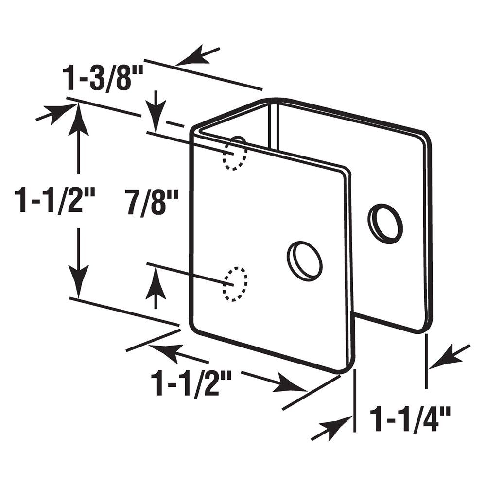 Stamped Stainless Steel Pack of 1 Sentry Supply 650-8205 U Shape Wall Bracket 1-1//4 inch x 1-3//8 inch