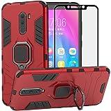 BestAlice Funda para Xiaomi Pocophone F1 / Poco F1 Case Protector de Pantalla de Cristal Templado, Híbrida Rugged Armor Choque Absorción Protección Dual Layer Bumper Carcasa con Pie De Apoyo, Rojo