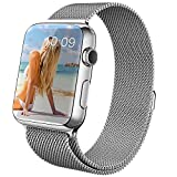 Covery Apple Watch Band Milanese Loop Magnetic Closure Stainless Steel Mesh Bracelet Strap Replacement Band for Apple Watch (38mm/Silver)