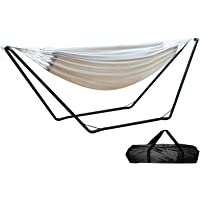 Hammock Bed, Gardeon 2 Person Hammock Swing with Power Steel Stand and Carry Bag, 200kg Capacity and 2.8m Length