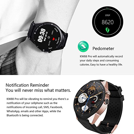KW88 Pro 3G Smartwatch Phone Android 7.0 1GB RAM 16GB ROM 1.39 inch MTK6580 Quad Core Smart Watch Support APP Download (White)
