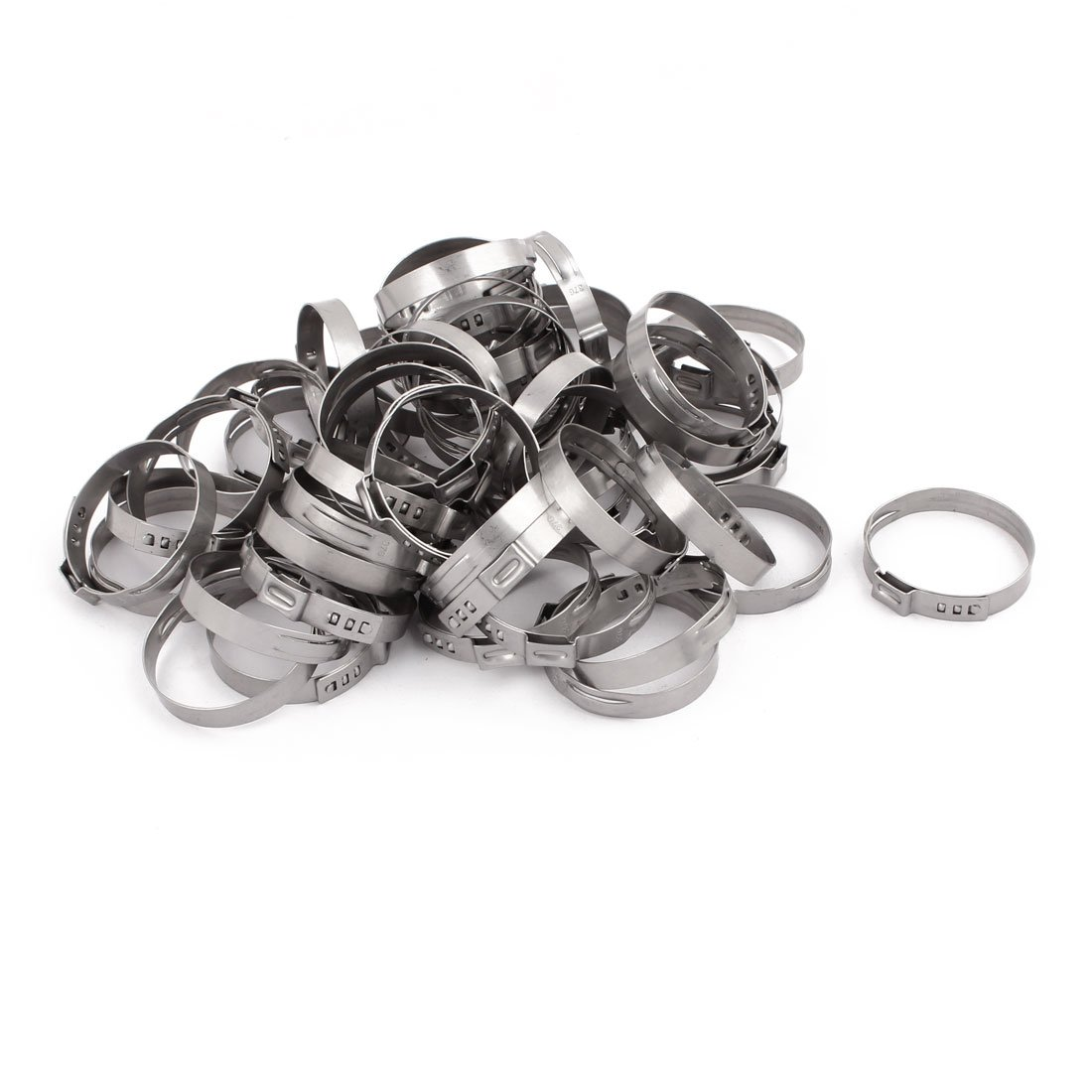 uxcell 34.4mm-37.6mm 304 Stainless Steel Adjustable Tube Hose Clamps Silver Tone 50pcs
