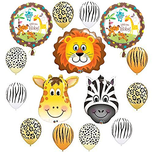 Jungle Safari Baby Party Supplies Balloon Decorations (Jungle Themed Balloons)