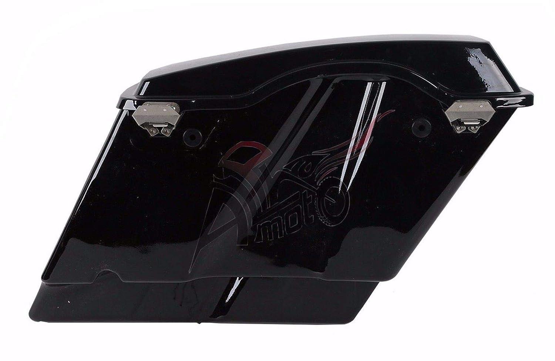 2014 up ALPHA MOTO 5 Vivid Black Stretched Extended Saddlebags Saddlebag with Lid Latch Keys For Harley Touring FLH FLT Electra Glide Road king Ultra Street