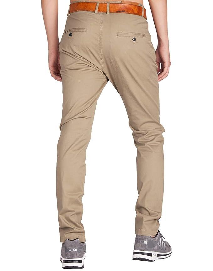 38cdff601483f8 Italy Morn Uomo Chino Casual Pantaloni Cotone Slim Fit 25 Colori:  Amazon.it: Abbigliamento