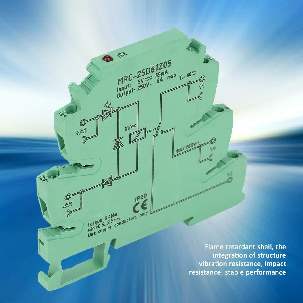 5 VDC-Eingang 6 A-Ausgang Elektromagnetischer Kontakt TS35 Din-Rail-Schnittstellenrelais Platinenschutzschaltung PLC-Relais 6,2 mm Ultrad/ünnes PLC-Schnittstellen-Relaismodul