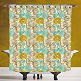 Decorative Shower Curtain 3.0 [Floral,Old Fashioned Composition with Abstract Carnations Lines Leaves Artistic Decorative,Tan Turquoise Marigold] Machine Washable,Shower Hooks are Included