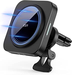 ESR HaloLock Magnetic Wireless Car Charger [Magnetic Attachment and Alignment] [Secure Air Vent Clamp] Mag-Safe Car Mount for iPhone 12/12 Pro/12 mini/12 Pro Max– Black