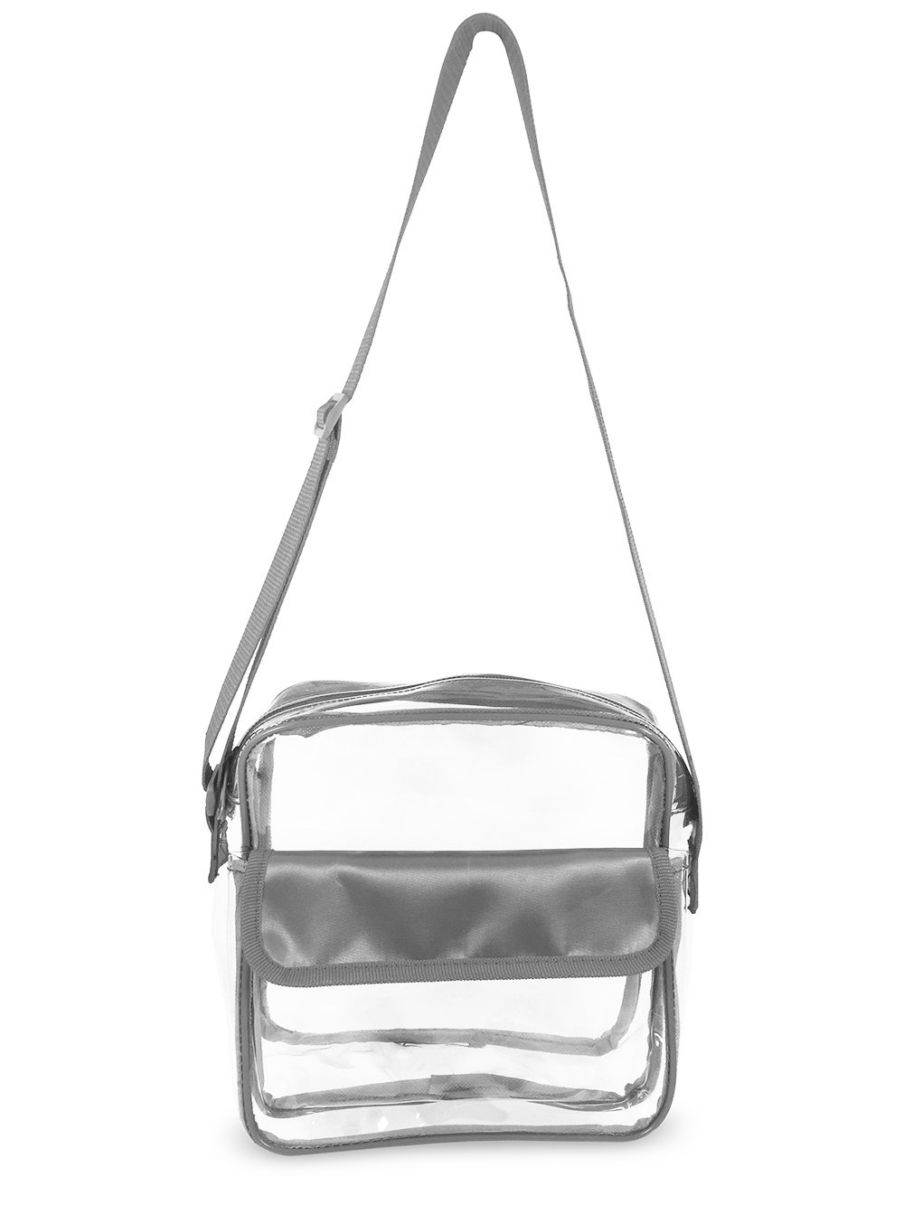 Event Stadium Approved Clear Messenger Bag Clear Shoulder Bag Transparent Purse with Adjustable Strap (Gray)