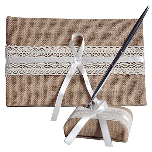 Abbie Home 4 in all Linen Cover Wedding Guest Book + Pen Set + Flower Basket + Ring Pillow Party Favor (Line Pen Set) by Abbie Home