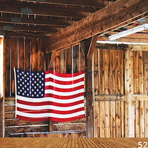 Generic American Flag Backdrop for Photo Studio Wood Wall and Floor Photography Backgrounds Booth Printed Picture Props by Jervie (Image #1)