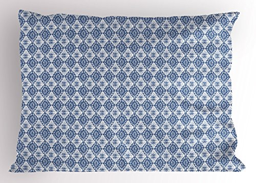 Ambesonne Blue and White Pillow Sham, Abstract Tie Dye Style