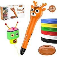 Nuly Reindeer 3D Pen, Intelligent 3D Printing Pen with Voice Prompt, USB Powered, Multi-Level Speed, Simple Handled 3D Printer Pen for Your Kids Toys, Gifts for All Ages.