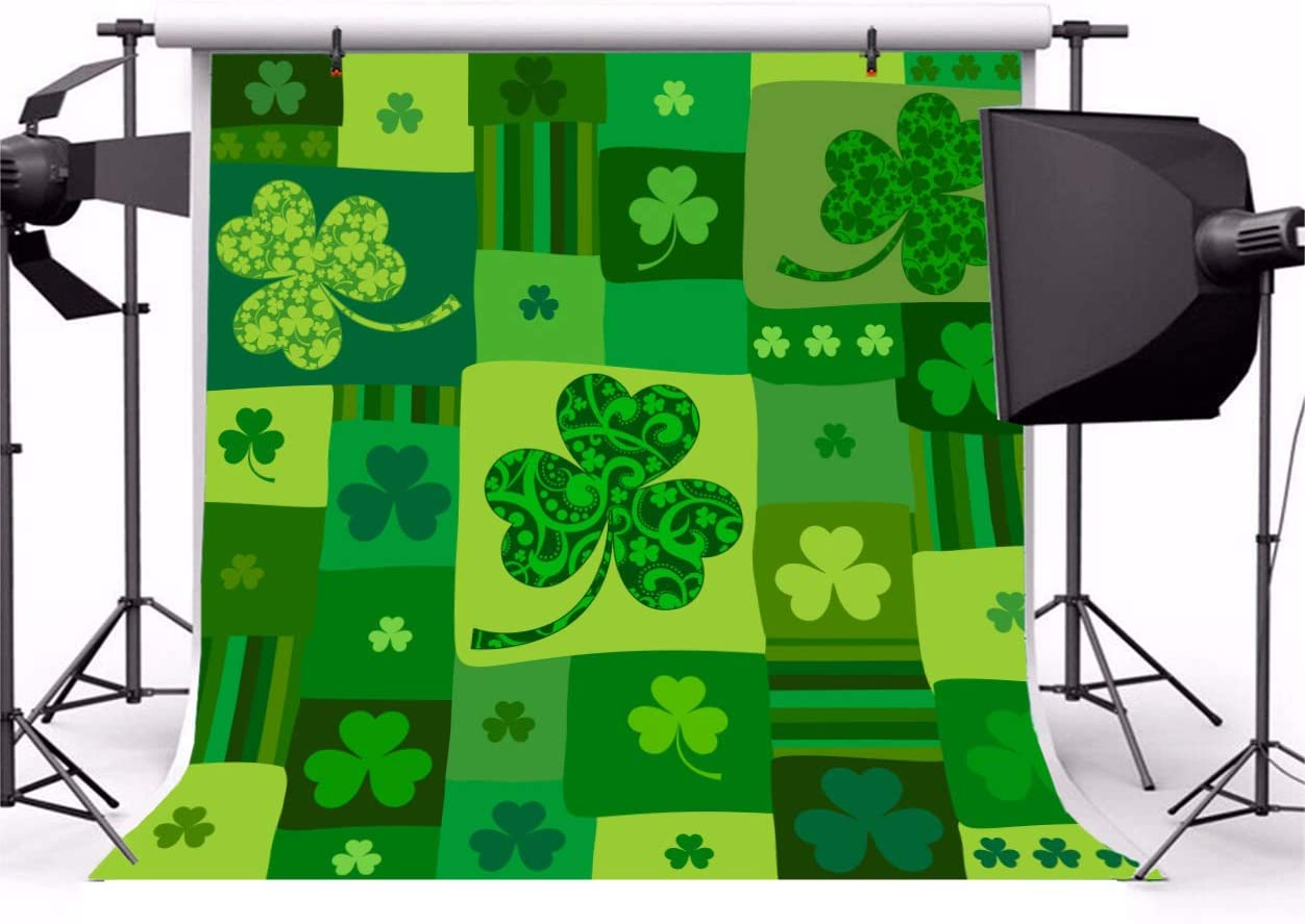 AOFOTO 10x10ft Vinyl Photography Background Shamrock Clover Grid Unique Pattern Backdrop March 17th Festival Celebration Family Events Children Portraits Shooting Backcloth Screen Prop