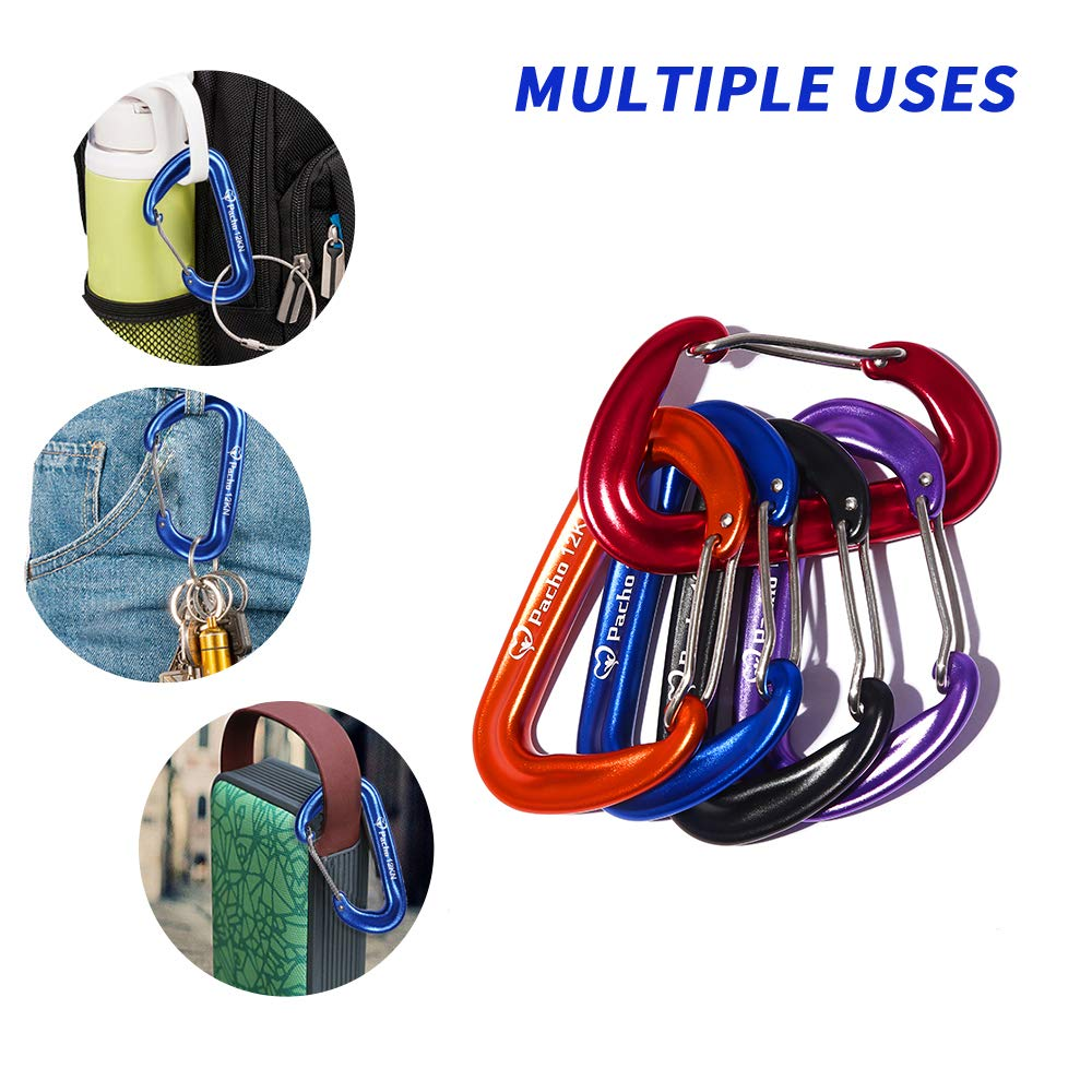 Keychain,Swing,Locking Dog Leash and Harness Hiking /& Backpack Camping Pacho Sturdy Carabiner Clip 3 Aluminium Carabiners Clips Heavy Duty Small D Shape for Hammocks