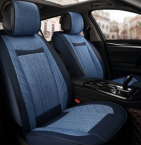oofay Linen car seats Five general car seats Cushion Seat cover, blue: Sports & Outdoors