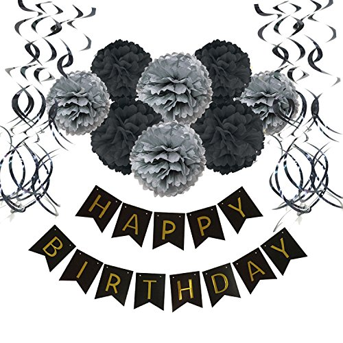 Wartoon Happy Birthday Banner Bunting with 8 Tissue Paper Pom Poms Flowers and 15 Hanging Swirl Decorations for Birthday Party Decorations - Black - Gray Party Decorations