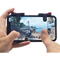Alexly Triggers PUBG Fortnite Mobile Controller, Pubg Gaming Joystick for Mobile,Fire Button Assist Tool (Black red)- Set of 2.
