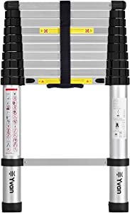 Yvan Telescoping Ladder, 10.5 FT One Button Retraction Aluminum Telescopic Extension Extendable Ladder,Slow Down Design Multi-Purpose Step Ladder for Household Daily or Hobbies,330 Lb Capacity