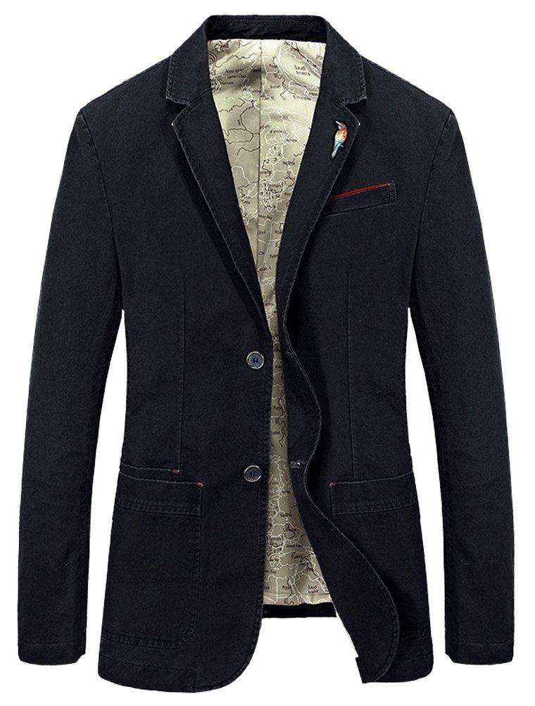 Mordenmiss Men's Lapel Sport Coats Two-Buttons Premium Cotton Trench Blazer XL Black