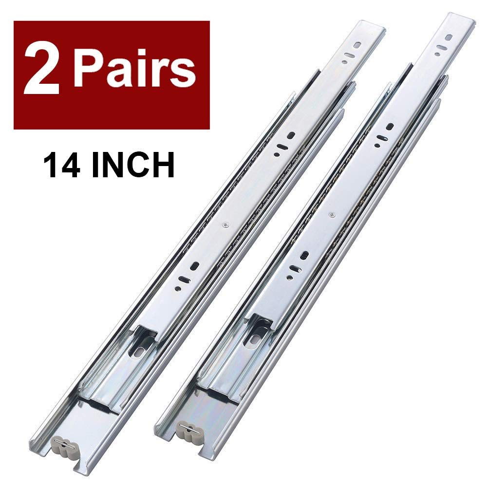 "2 Pair of 14 Inch Full Extension Side Mount Ball Bearing Sliding Drawer Slides, Available in 10"", 12"", 14"", 16"", 18"" and 20"" Lengths"