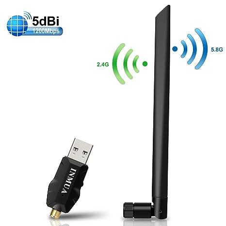 INMUA 1200Mbps Adaptador USB WiFi inalámbrico Antena de Alta Ganancia Banda Dual(5G 867M/