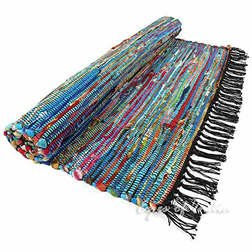 Rag Rug Prices: 3 X 5 Ft BLUE COLORFUL CHINDI WOVEN RAG