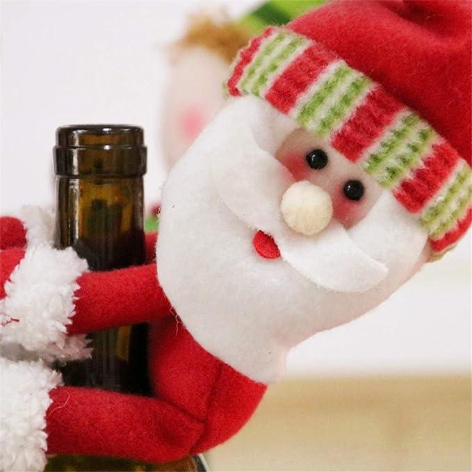 Bonito juego de botellas de Papá Noel, muñeco de nieve, muñeco de nieve, botella de vino, funda para sujetar, tela, 3, Free: Amazon.es: Hogar