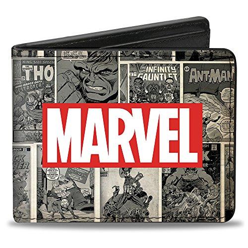Buckle-Down Men's MARVEL Logo/Retro Comic Covres/Scene Blocks Grays/Red/White,