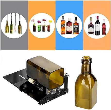 Famyfamy Botella de Cristal Cortador - Acero Inoxidable Ajustable Botella Corte Máquina para Cortar Botellas de Vidrio Profesional Manchado Cristal Corte Herramienta - Negro, one size: Amazon.es: Hogar