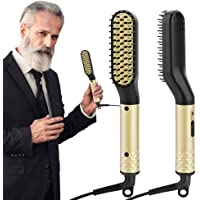 Beard Straightener for Men, ANLAN Beard Straightening Comb Electric Hair Straightener Brush with PTC Ceramic Heating Control Hot Comb Dual Voltage (100V-240V)