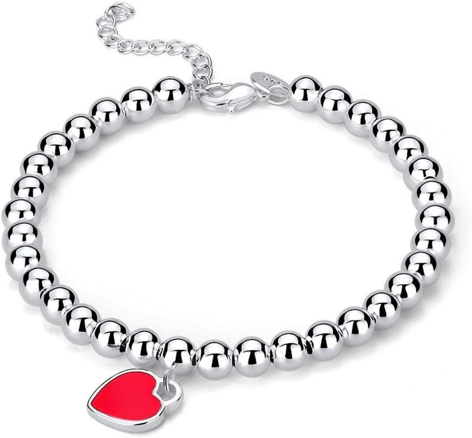 S925 Pulsera de perlas redondas de plata esterlina Esmalte de perlas Melocotón en forma de corazón Amor Pulsera de plata en forma de mujer con forma de corazón de Buda Distinguido ( Color : Red )