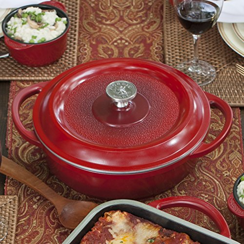 Nordic Ware Pro Cast Traditions Braiser Pan, 10-Inch, Cranberry,