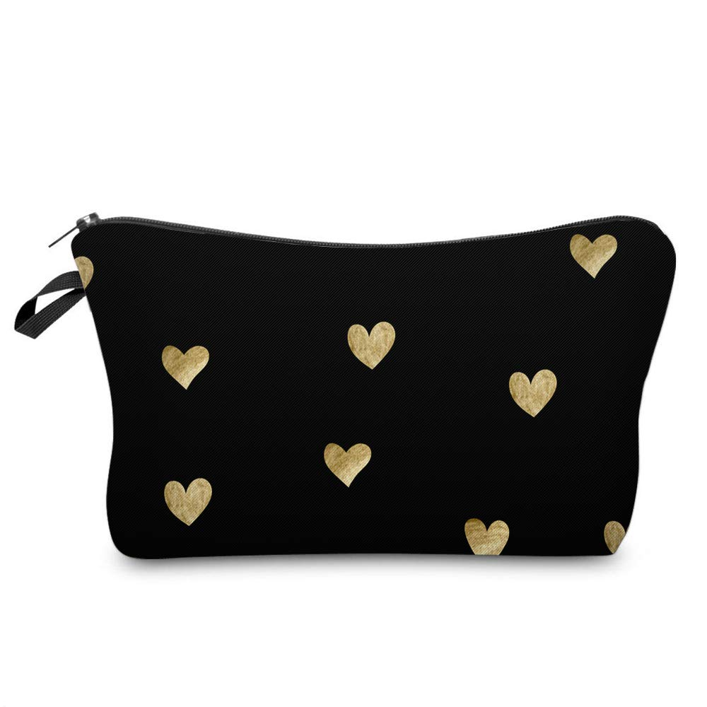 Cosmetic Bag for Women,Loomiloo Adorable Roomy Makeup Bags Travel Waterproof Toiletry Bag Accessories Organizer Liama Gifts (Hearts 51356)