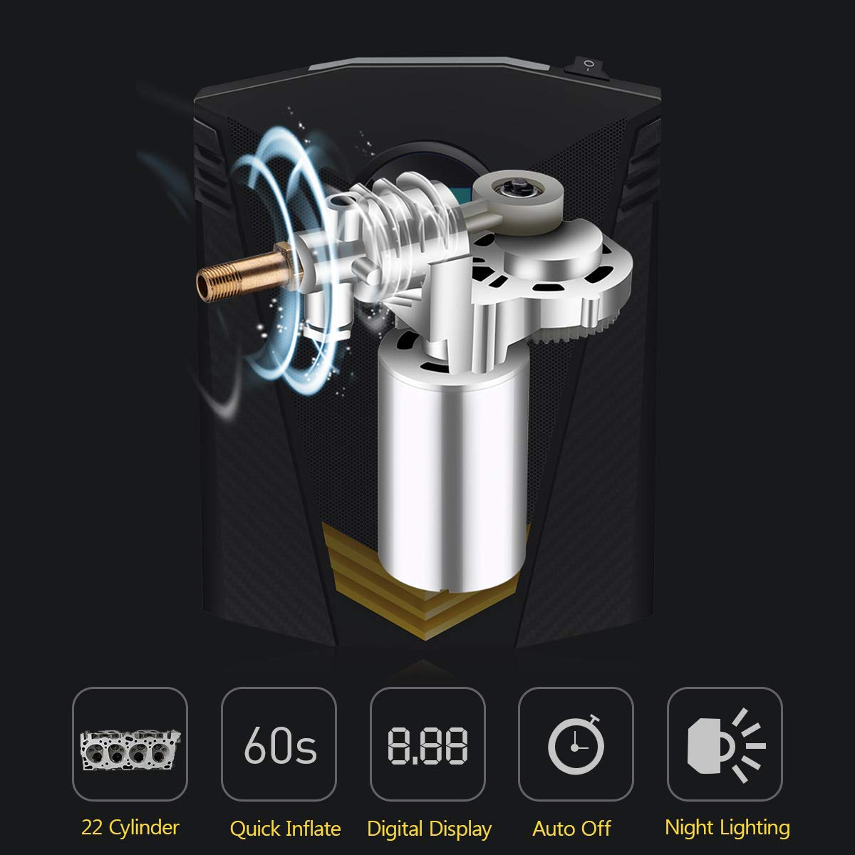B/älle und andere Schlauchboote,19Cylinder Digitaler Reifenf/üller Fahrr/äder Motorr/äder tragbarer Luftkompressor 12V 150 PSI Autoreifenpumpe mit 4 Hellen LEDs und 3 Ventiladaptern f/ür Autos