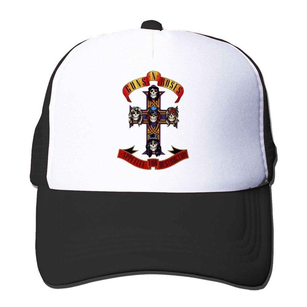 Feruch Custom Guns N' Roses Cross Logo Trucker Hat Orange Sun Hat Black
