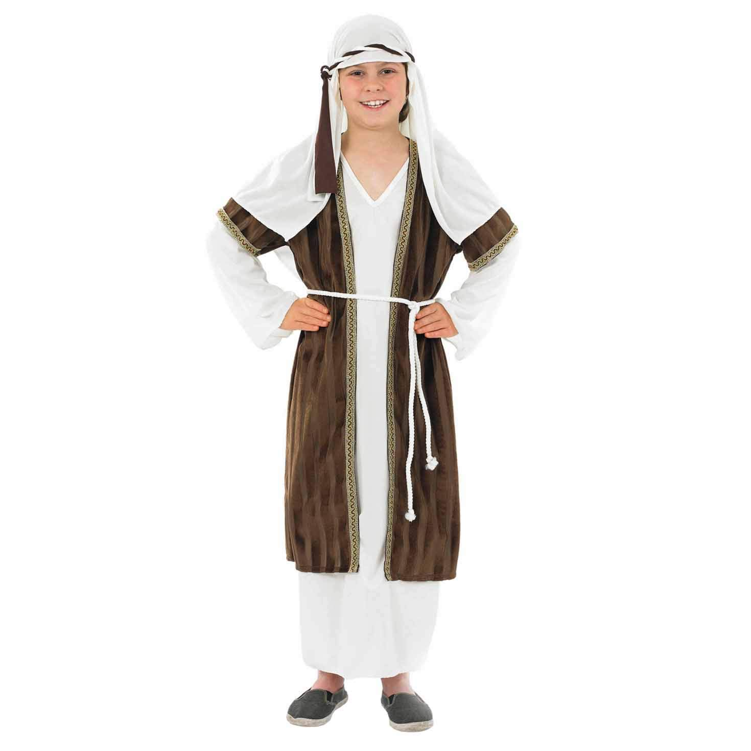 fun shack Kids Brown Shepherd Costume Boys & Girls Christmas Nativity Robe Outfits - Large by fun shack