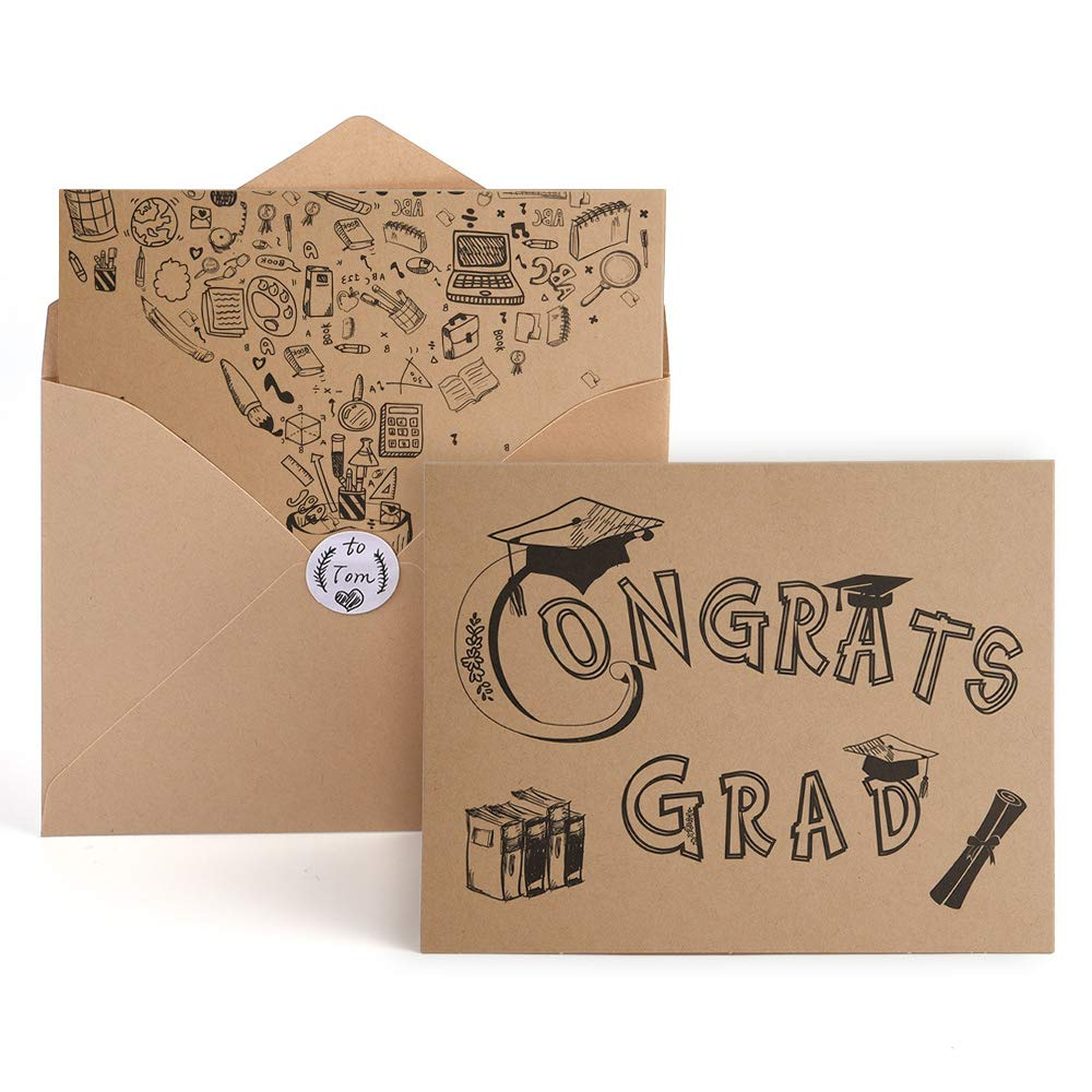 Kuuqa 36 Pcs Foldable Graduation Greeting Cards And Envelopes With