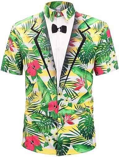 Camisa de Verano para Hombre Moda Ligera Camiseta Transpirable Camisa de Manga Corta con Estampado Floral Tropical 3D Camisa Hawaiana: Amazon.es: Ropa y accesorios