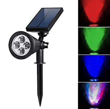 HKYH Color Changing LED Solar Spotlight, Solar Outdoor Wall Light  Waterproof, Security Lighting,